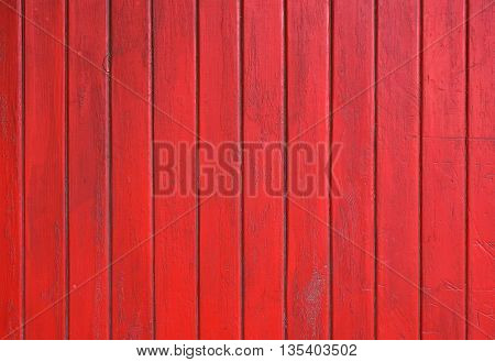 Red Grunge Painted Wooden Planks Panel