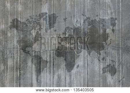 World Map Stain On Grunge Cement Concrete Wall