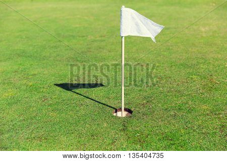game, entertainment, sport and leisure concept - close up of flag mark in hole on golf field