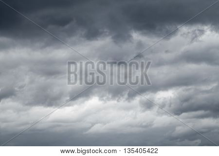 Dark Sky With Blue Gray Stormy Clouds