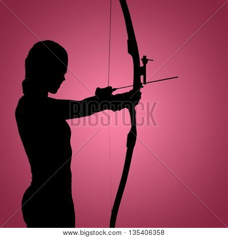 Side view of woman practicing archery against red vignette