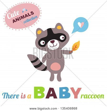 Welcome baby card. Vector illustration. Raccoon baby. Cute animals collection