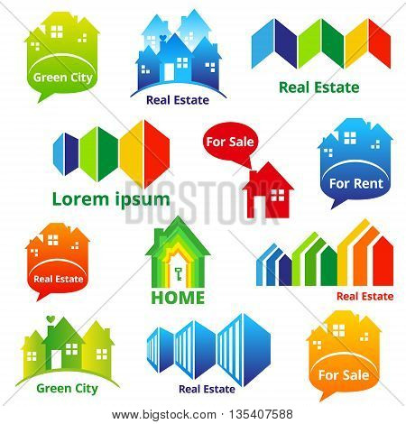 Set of Real estate and Green city design concept. Vector illustration