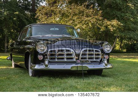 GROSSE POINTE SHORES MI/USA - JUNE 19 2016: A 1955 Chrysler C 300 car at the EyesOn Design car show, held at the Edsel and Eleanor Ford House, near Detroit, Michigan.