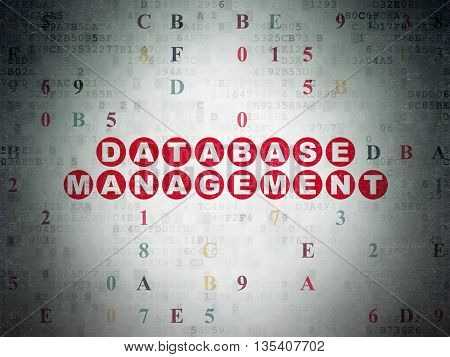 Database concept: Painted red text Database Management on Digital Data Paper background with Hexadecimal Code