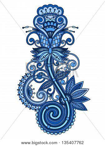Vector vintage floral decorative element for design print embroidery.