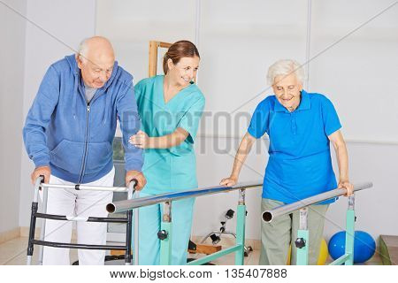 Physiotherapy with senior people on a high bar and a walker