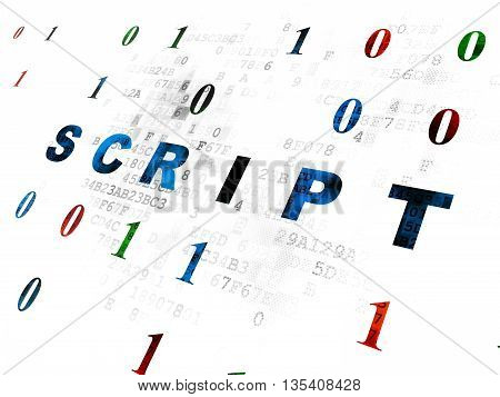 Programming concept: Pixelated blue text Script on Digital wall background with Binary Code