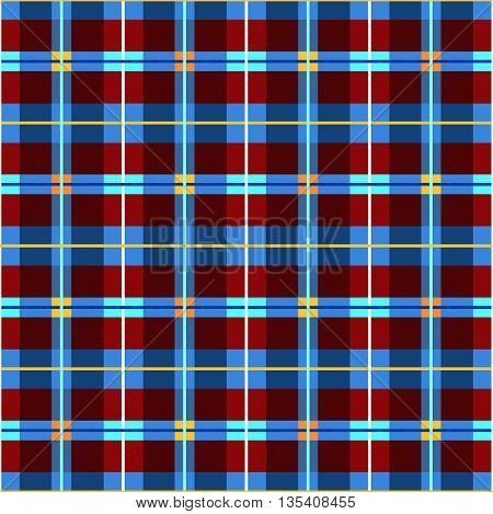 Vector geometric background with purple and blue rectangles, yellow and orange squares and thin strips. For the decoration. Seamless pattern for textiles and printing.