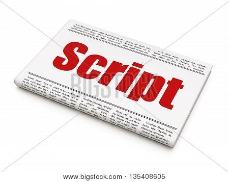 Programming concept: newspaper headline Script on White background, 3D rendering