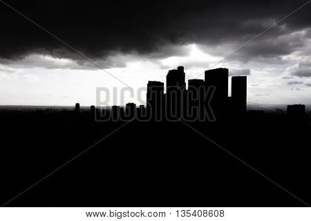 Dark silhouette city skyscrapers in Los Angeles, California