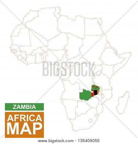 Africa Contoured Map With Highlighted Zambia.
