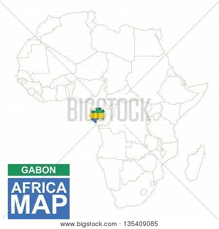 Africa Contoured Map With Highlighted Gabon.