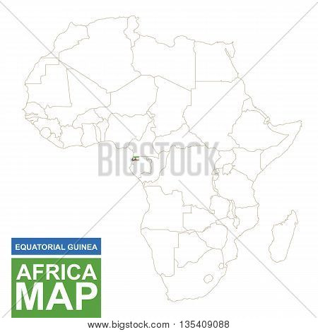 Africa Contoured Map With Highlighted Equatorial Guinea.