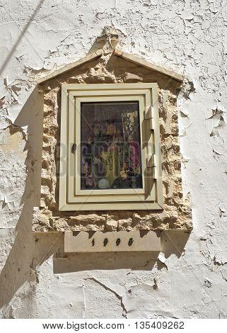 Close up of aedicule votive of Turi. Puglia. Italy.
