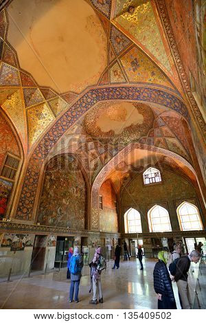 ISFAHAN - APRIL 19: interior of the Chehel Sotoun palace in Isfahan Iran on April 19 2015. Chehel sotoun was built in 1646 by Shah Abbas II to be used for his entertainment and receptions.
