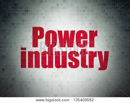 Manufacuring concept: Painted red word Power Industry on Digital Data Paper background