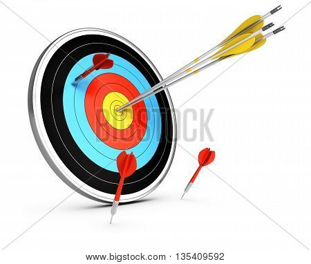 3D illustration of three arrows hitting the center of a target and three darts failled to reach the objective. Conceptual image over white background. Concept of competitive advantage.