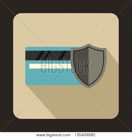 Credit card and shield icon in flat style on a beige background