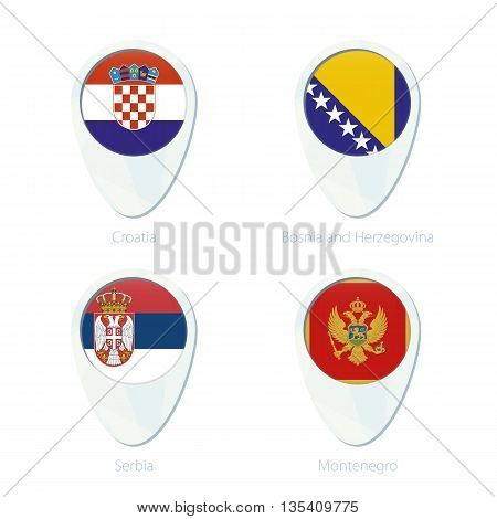 Croatia, Boania And Herzegovina, Serbia, Montenegro Flag Location Map Pin Icon.