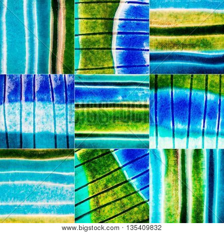 Big size collection of blue and green lined ceramic textures. Abstract pottery background