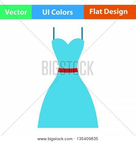 Dress icon. Flat  color design. Vector illustration.