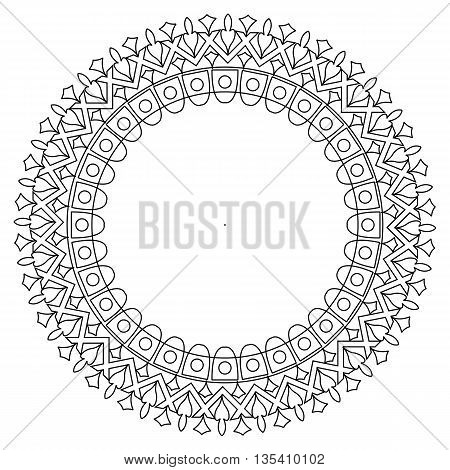 Black and white round lace frame. Greeting card with place for text.