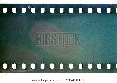 Blank cyan dark noisy film strip texture background