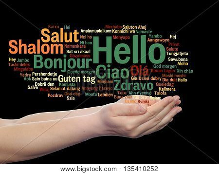 Concept or conceptual abstract hello or greeting international word cloud on hands in different languages or multilingual