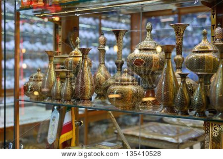 ISFAHAN - APRIL 19: Traditional iranian souvenirs in market Bazaar in Isfahan Iran on April 19 2015. Bazaar of Isfahan is the most important tourist attraction in Isfahan Iran.