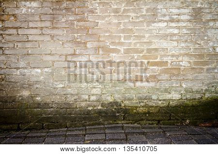 White weathered brick wall and a ground