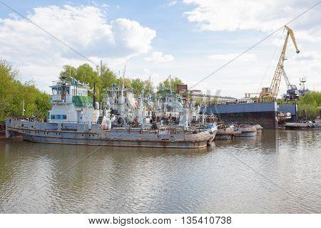 Ryazan, Russia - May 8, 2016: Old ships of river port in Ryazan on Oka river.