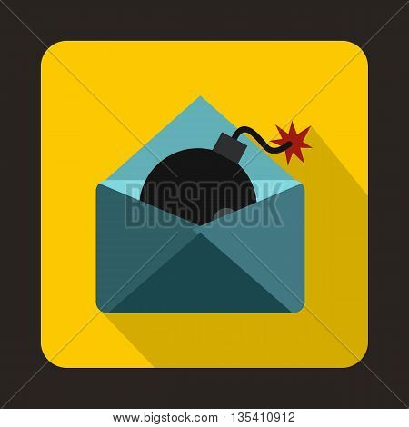 Envelope with bomb icon in flat style on a yellow background