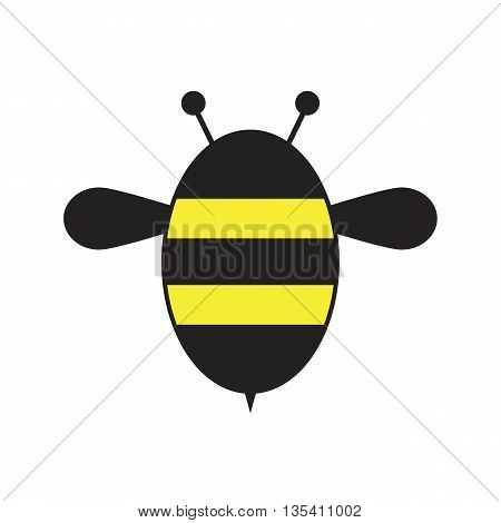 Bee. Icon bee isolated on white background. Vector illustration.