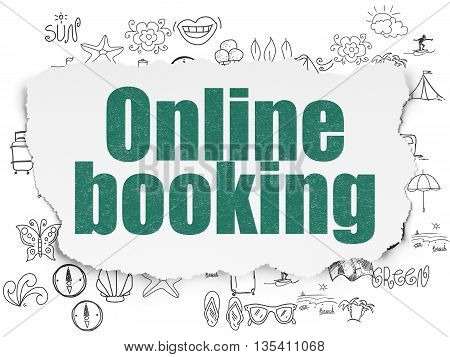 Travel concept: Painted green text Online Booking on Torn Paper background with  Hand Drawn Vacation Icons