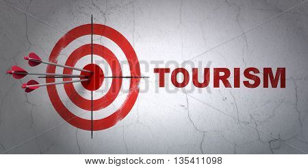 Success travel concept: arrows hitting the center of target, Red Tourism on wall background, 3D rendering