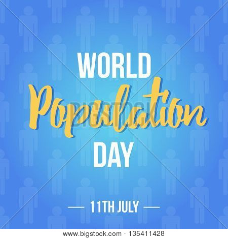 World population day vector flat design illustration with people silhouettes on blue background.