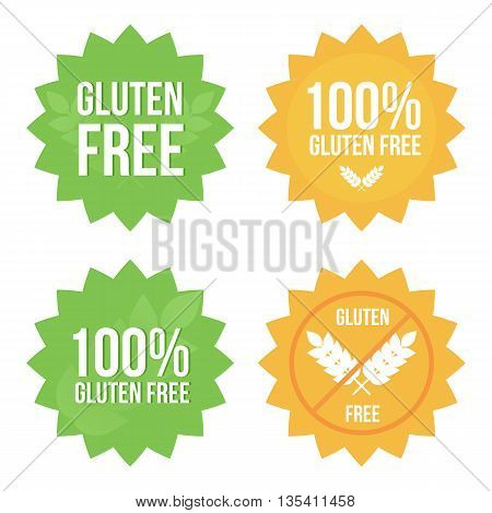 Vector gluten free tags, stickers, labels set, collection isolated on white background for web and print.