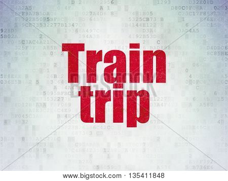 Travel concept: Painted red word Train Trip on Digital Data Paper background