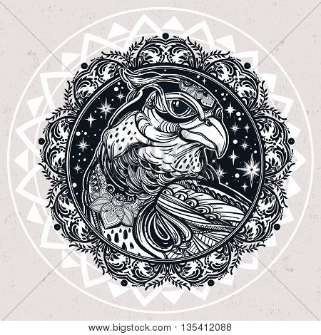 Detailed ornate mandala bird of prey head. Head of eagle, falcon or hawk in the sky. Isolated Vector illustration. Tattoo art, spirituality, boho symbol. Ethnic, mystic tribal element for your use.