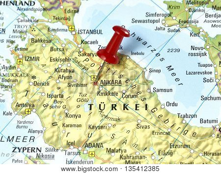 Map with focus on Ankara. Pin set on Ankara, Turkey.