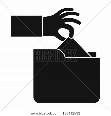 Robbery secret data in folder icon in simple style isolated on white background