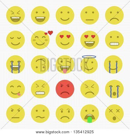 Set of Emoticons. Set of Emoji. Set of Avatar.Flat style illustrations - stock vector