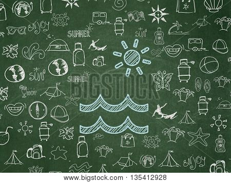 Vacation concept: Chalk Blue Beach icon on School board background with  Hand Drawn Vacation Icons, School Board