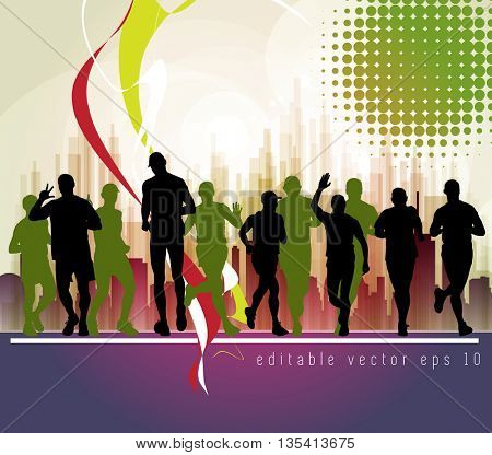 Sport, marathon runners illustration