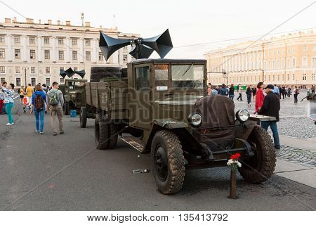 RUSSIA SAINT-PETERSBURG JUNE 21 2016: GAZ-AA truck (polutorka lorry) with an audio warning system on the Palace Square in St. Petersburg.