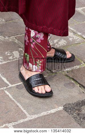 MILAN ITALY - JUNE 19: Detail of shoes outside Missoni fashion show building during Milan Men's Fashion Week on JUNE 19 2016 in Milan.