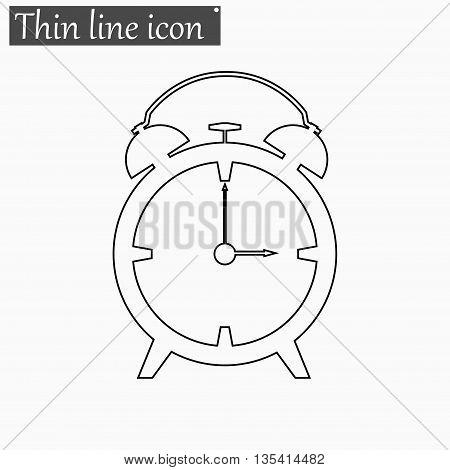 Alarm clock icon Vector Style Black thin line