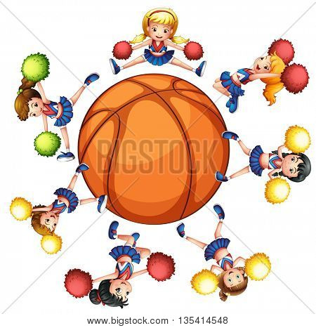 Happy cheerleaders around basketball illustration