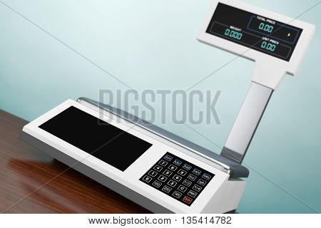Old Style Photo. Electronic Scales for weighing Food on the wooden table. 3d Rendering